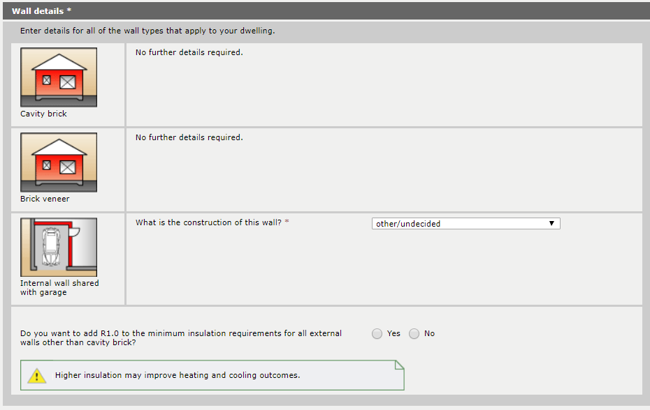 Figure 3 – Sample screenshot showing the optional question to commit to an additional R1.0 for external walls.