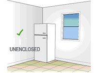 Diagram of an unenclosed refrigerator