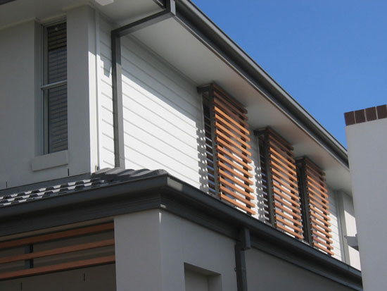 Example of a house with external window shades